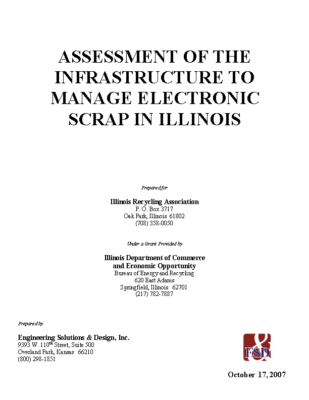 Assessment of the Infrastructure to Manage Electronic Scrap in Illinois Report 2007